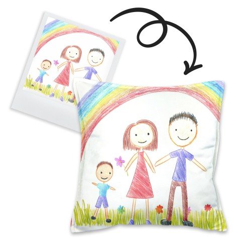 Cushion with children painting