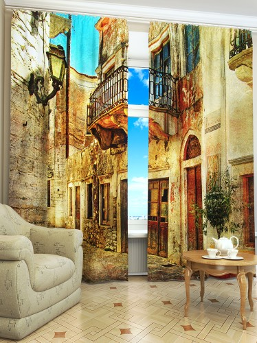 """Curtains """"Old town of Italy"""" S2298"""