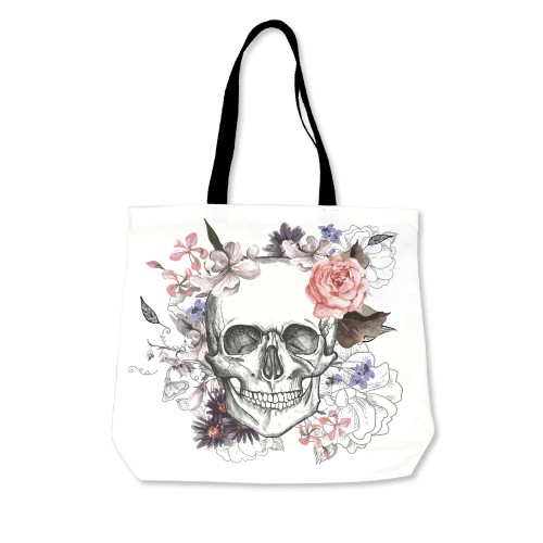 """Tote Bag """"Skull with Flowers"""" TB69456W"""